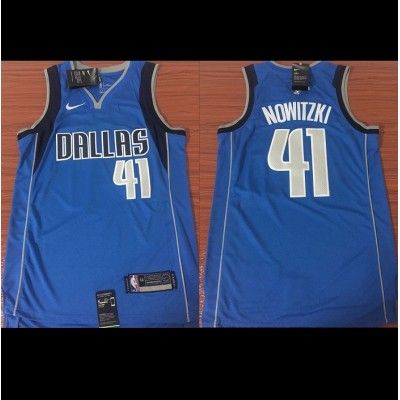 Dirk Nowitzki Dallas Mavericks Blue 2017-18 NBA X Nike Swingman Jersey