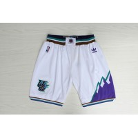 Utah Jazz Classic White Basketball Shorts