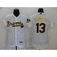 Ronald Acuña Jr. White & Gold Atlanta Braves Baseball Jersey