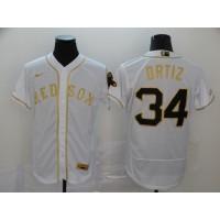 David Ortiz White & Gold Boston Red Sox Baseball Jersey