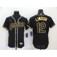 Francisco Lindor Black & Gold Cleveland Indians Baseball Jersey