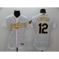 Francisco Lindor White & Gold Cleveland Indians Baseball Jersey