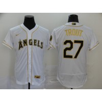 Mike Trout White & Gold Los Angeles Angels Baseball Jersey