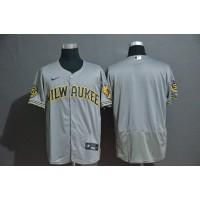 Milwaukee Brewers Grey Baseball Jersey