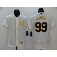 Aaron Judge White & Gold New York Yankees Baseball Jersey