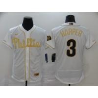 Bryce Harper White & Gold Philadelphia Phillies Baseball Jersey