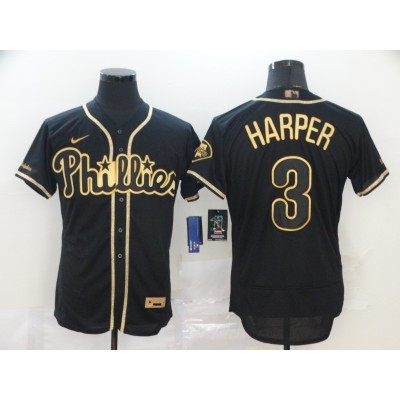 Bryce Harper Black & Gold Philadelphia Phillies Baseball Jersey