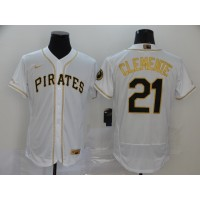 Roberto Clemente White & Gold Pittsburgh Pirates Baseball Jersey