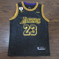 LeBron James 2020 Black Mamba Los Angeles Lakers Jersey with Gigi Bryant Heart Patch