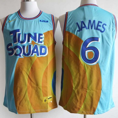 *LeBron James Space Jam 2 Tune Squad Light Blue and Orange Jersey