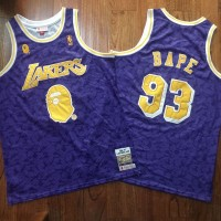 BAPE X Mitchell & Ness Special Edition Los Angeles Lakers Purple Jersey - Super AAA Version