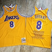 **Kobe Bryant Achievements Mitchell & Ness Los Angeles Lakers 1996-97 Rookie Season Yellow Special Edition Jersey - Super AAA