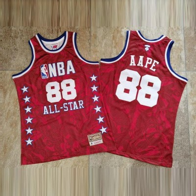 **AAPE  X Mitchell & Ness 1988 All Star Red Limited Edition Jersey - Super AAA