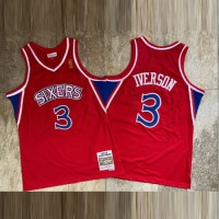 Allen Iverson Mitchell & Ness Philadelphia 76ers 1996-97 Rookie Season Red Jersey - Super AAA