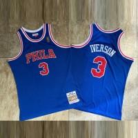 Allen Iverson Mitchell & Ness Philadelphia 76ers 1996-97 Rookie Season Blue Jersey - Super AAA