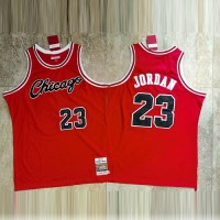 *Michael Jordan Mitchell & Ness Chicago Bulls Black 1984-85 Chicago Bulls Rookie Season Red Jersey - Super AAA