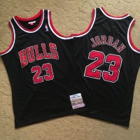 *Michael Jordan Mitchell & Ness Chicago Bulls Black 1997-98 Chicago Bulls Black Jersey - Super AAA