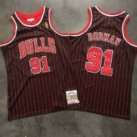 *Dennis Rodman Mitchell & Ness Chicago Bulls 1996-97 Pinstripe Championship Special Edition Jersey - Super AAA