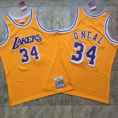 Shaquille O'Neal Mitchell & Ness Los Angeles Lakers 1996-97 Yellow Jersey - Super AAA