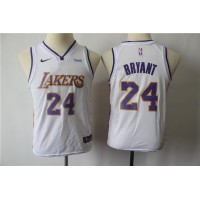 *Kobe Bryant Los Angeles Lakers 2017-18 White Kids/Youth Jersey
