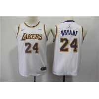 *Kobe Bryant Los Angeles Lakers White Kids/Youth Jersey