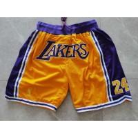 Kobe Bryant 8/24 Los Angeles Lakers Yellow JUST DON Shorts