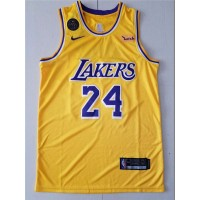 Kobe Bryant #24 Los Angeles Lakers 2019 Yellow Jersey with KB Patch