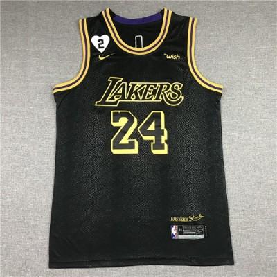 *Kobe Bryant 2020 Black Mamba Los Angeles Lakers Jersey with Gigi Bryant Heart Patch