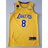 Kobe Bryant #8 Los Angeles Lakers 2019 Yellow Jersey with KB Patch