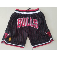 Chicago Bulls Black with Red Pinstripes JUST DON Shorts