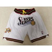 "Philadelphia 76ers White ""Sixers"" JUST DON Shorts"