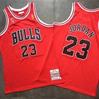 **Michael Jordan Red Mitchell & Ness Chicago Bulls 1996-97 Championship Special Edition Jersey - Super AAA
