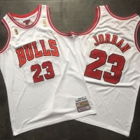 **Michael Jordan Mitchell & Ness Chicago Bulls 1996-97 Championship Special Edition White Jersey - Super AAA