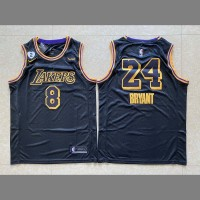 *Kobe Bryant Front #8 Back #24 2020 Black Mamba Los Angeles Lakers Jersey with Gigi Bryant Heart Patch