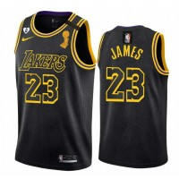*LeBron James Champions Trophy Los Angeles Lakers 2020 Black Mamba Jersey