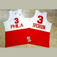 Allen Iverson Mitchell & Ness Philadelphia 76ers 2003-04 Half White Half Red - Super AAA