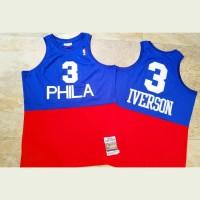 Allen Iverson Mitchell & Ness Philadelphia 76ers 2003-04 Half Blue Half Red - Super AAA