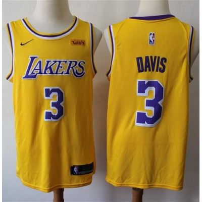Anthony Davis 2019-20 Los Angeles Lakers Yellow Jersey