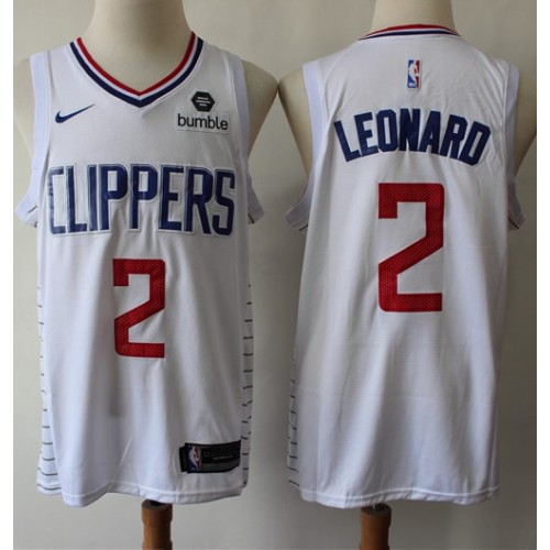 brand new a11ab d6cc8 Kawhi Leonard 2019-20 Los Angeles Clippers White Jersey