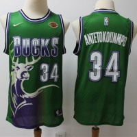 Giannis Antetokounmpo 2019-20 Milwaukee Bucks Throwback Green Jersey