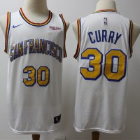 Stephen Curry 2019-20 Golden State Warriors Throwback White Jersey