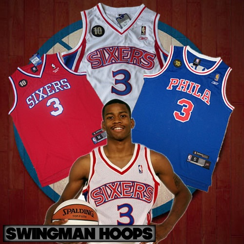 2b3ed7a978d9 Allen Iverson Philadelphia 76ers 10th Anniversary Sixers Throwback Jerseys
