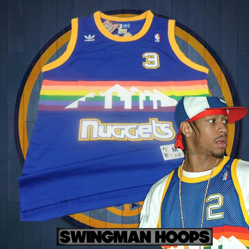 new products 6c811 26346 Allen Iverson Denver Nuggets Hardwood Classics Jersey