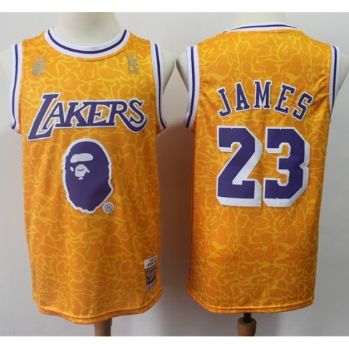 pretty nice 7eca6 c7e36 LeBron James BAPE X Mitchell & Ness Special Edition Lakers ...