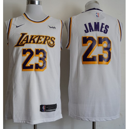 newest ad4f2 21441 LeBron James Los Angeles Lakers Classic White Jersey