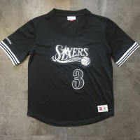 Allen Iverson Mitchell & Ness Philadelphia 76ers Black Sleeved Jersey - Super AAA